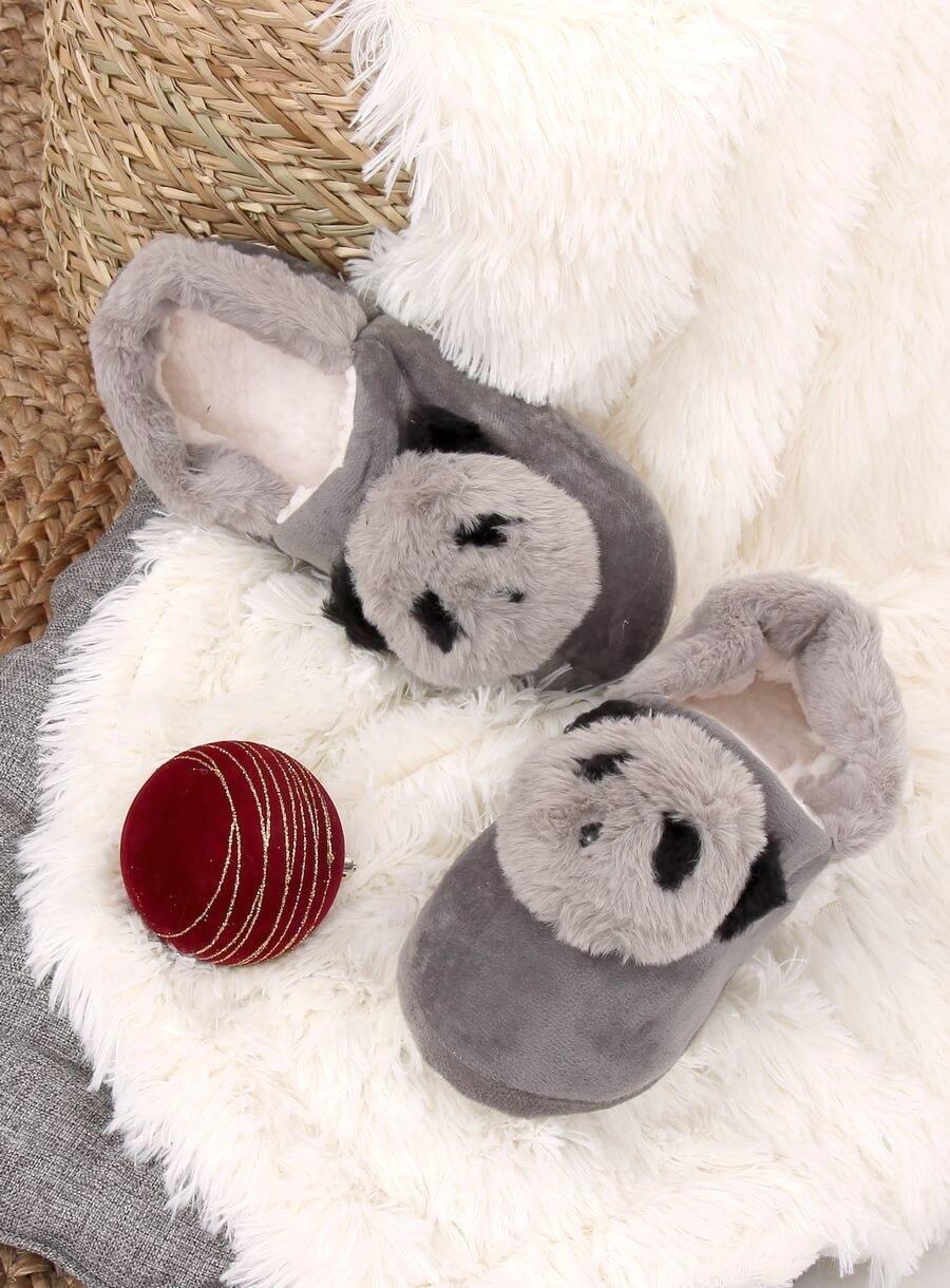 Dámske šedé papuče panda