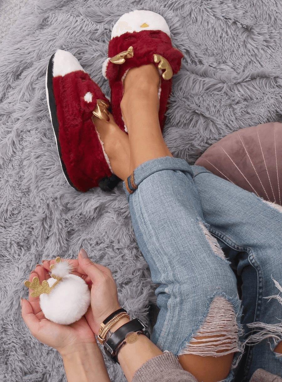 Dámske sobík papuče bordové