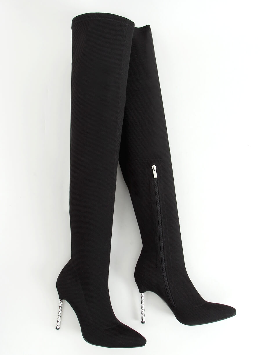 Čierne čižmy na stehna