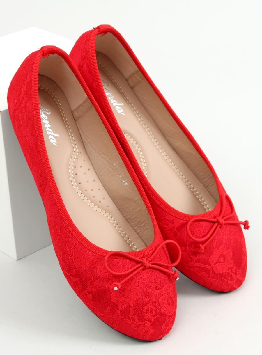 Baleríny čipkované červené