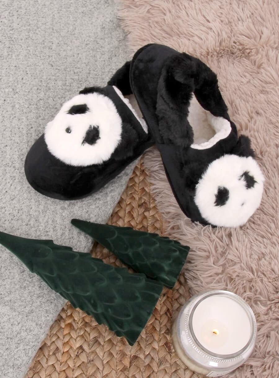 Dámske čierne papuče panda