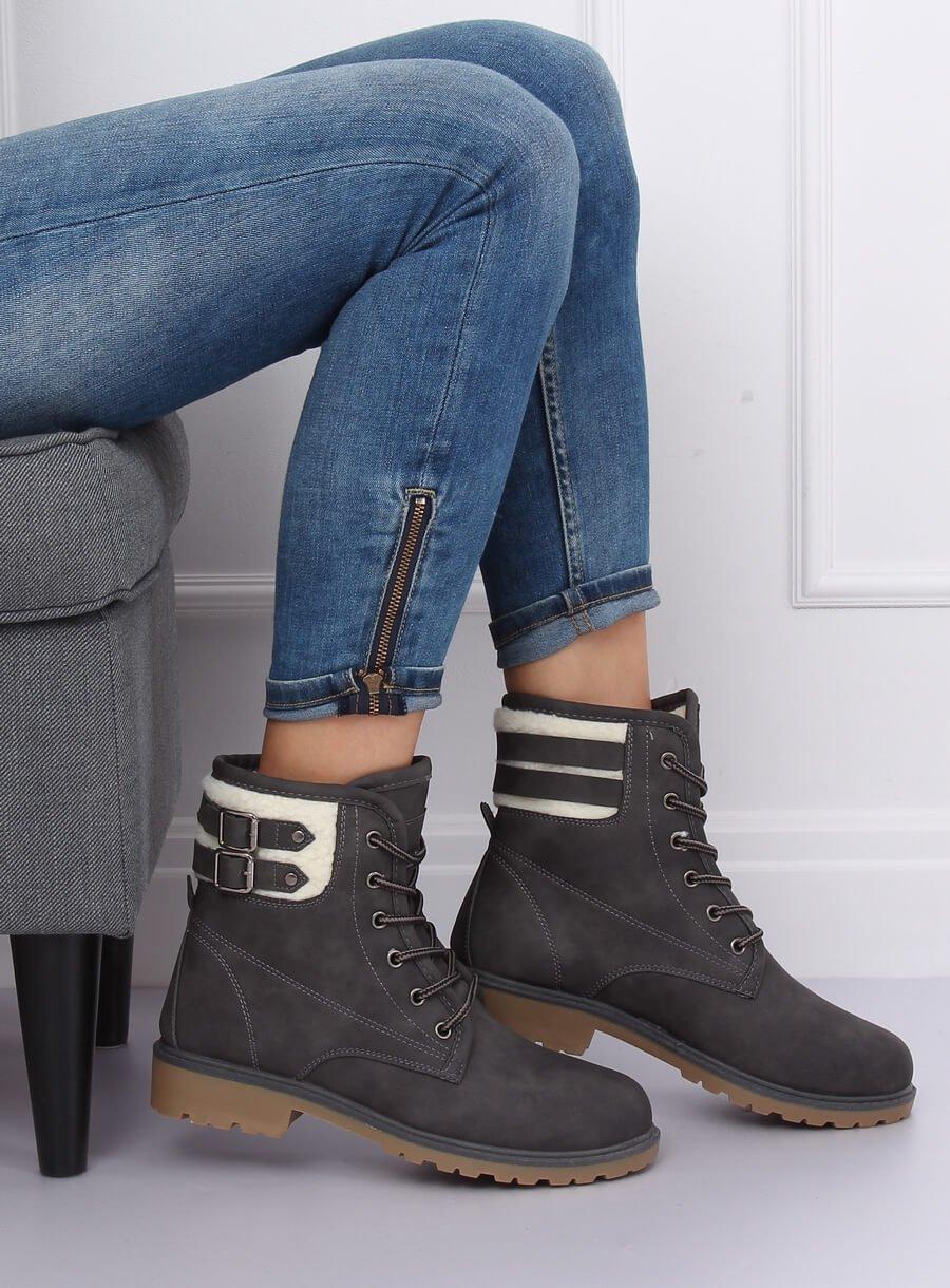 Dámské šnurovacie topánky šedé