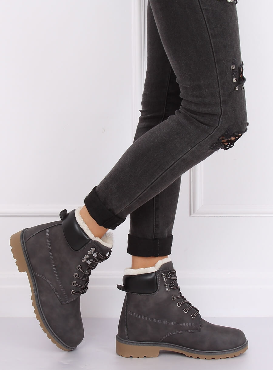 Šedé dámské zateplené topánky