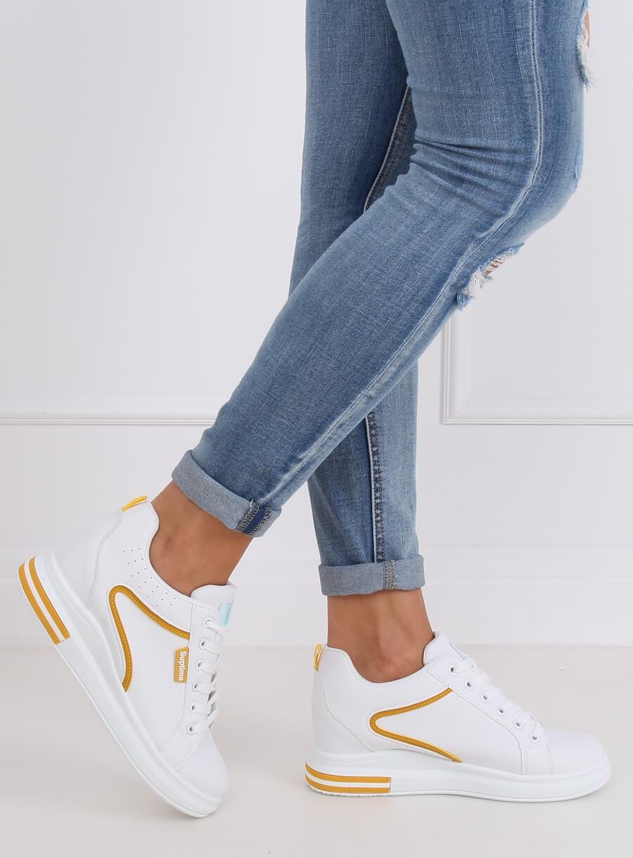 Bielo/ žltá športová obuv