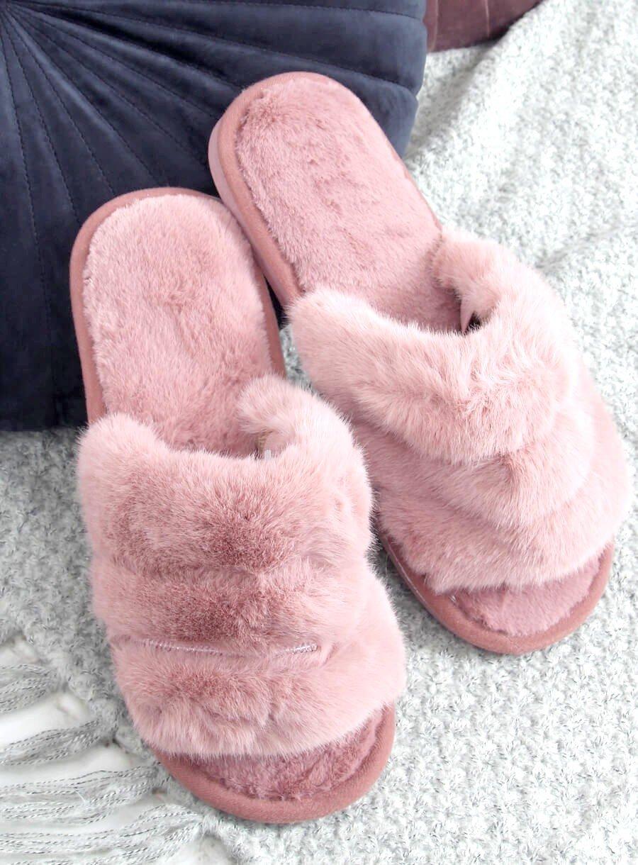 Špinavo ružové papuče s gumičkou