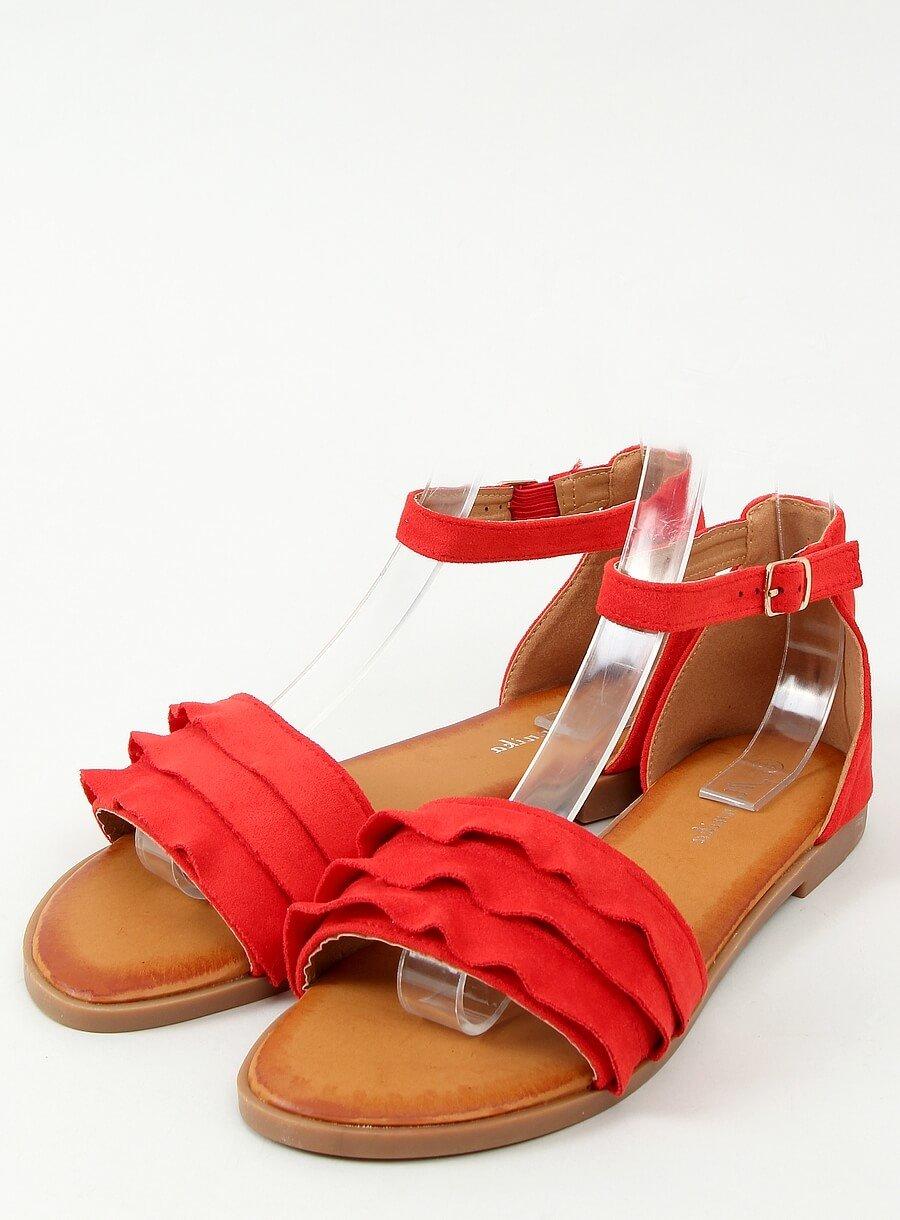Červené sandále s riaseným