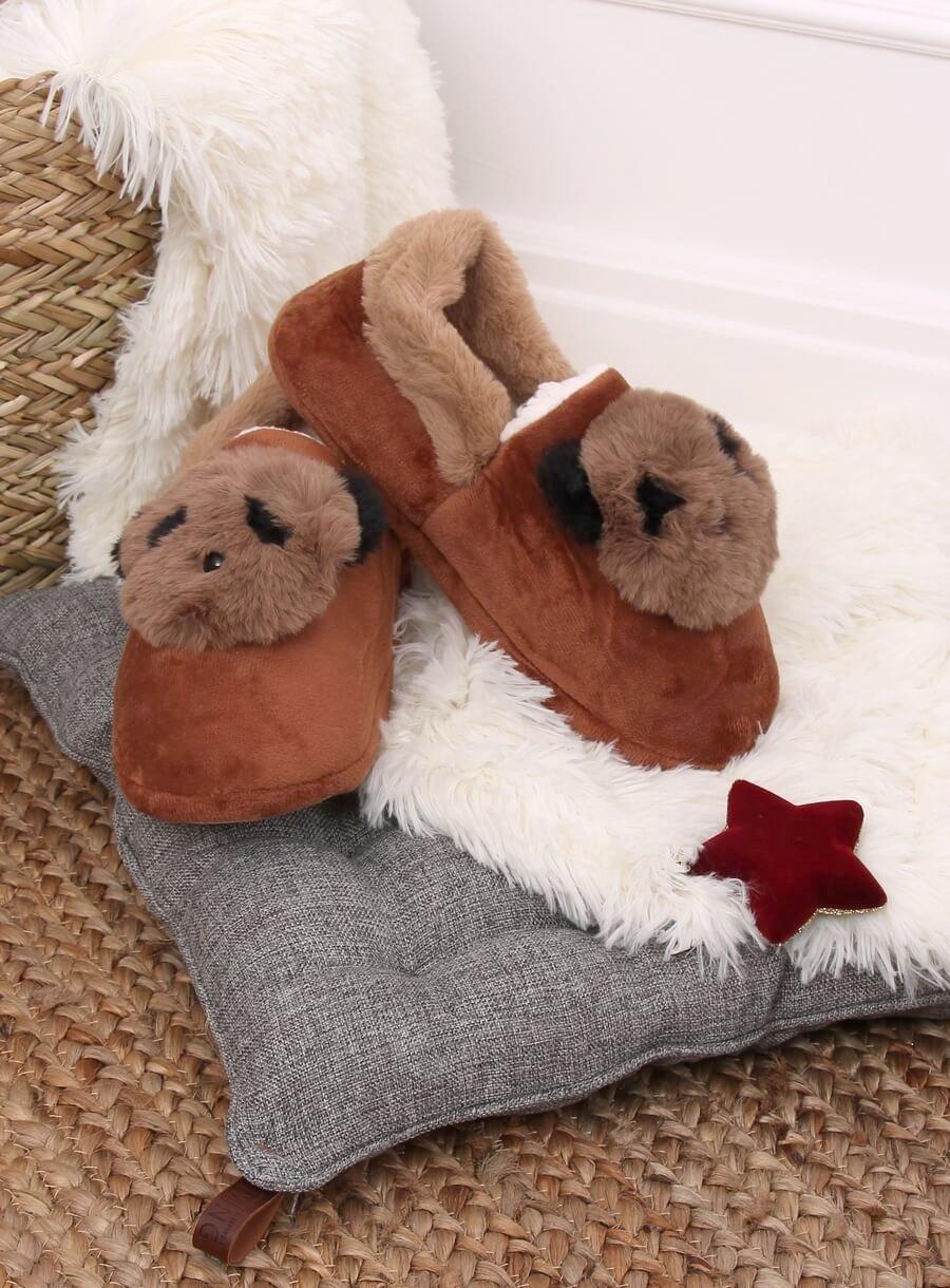 Dámske hnedé papuče panda
