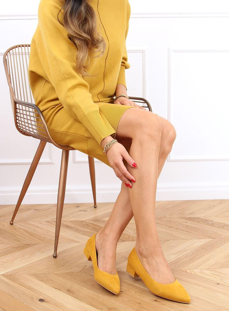 Lodičky na nízkom podpätku žlté