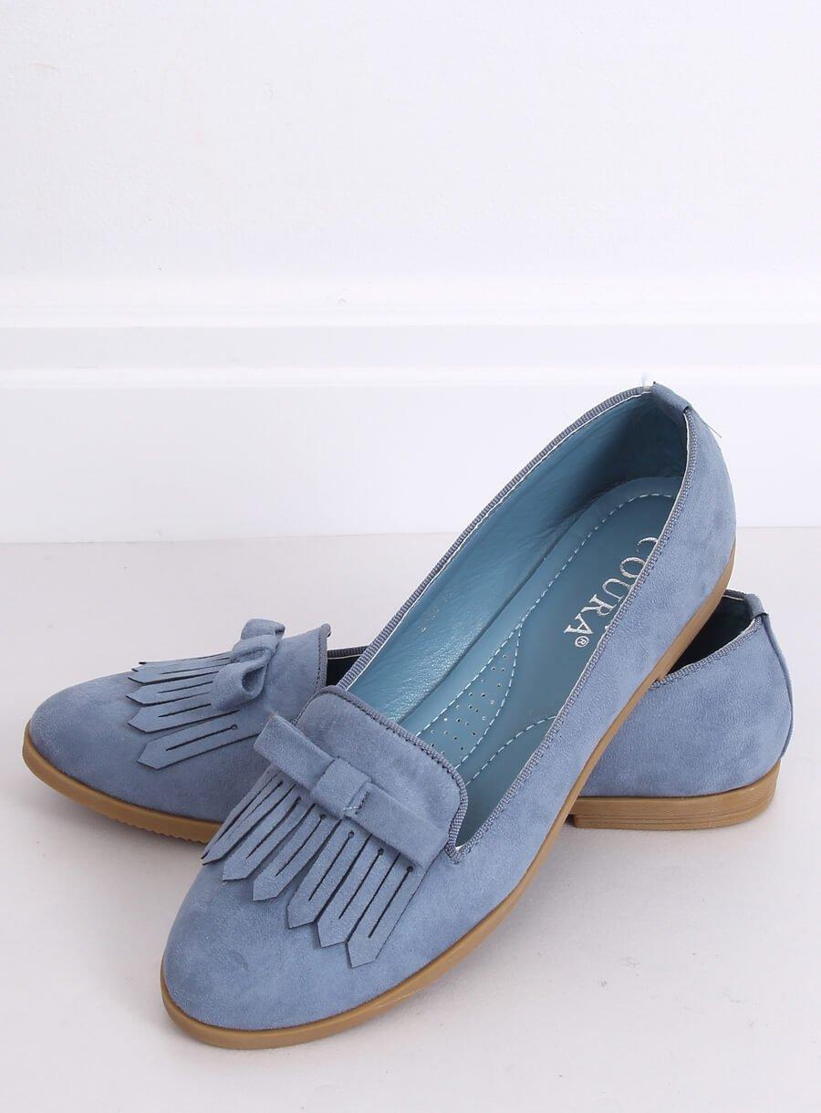 Svetlo modré dámské mokasíny