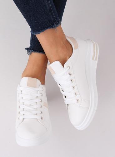 Buty sportowe damskie białe BL201P BEIGE
