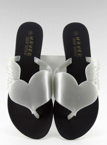 Klapki meliski Flying heart KM116 BLACK/SILVER