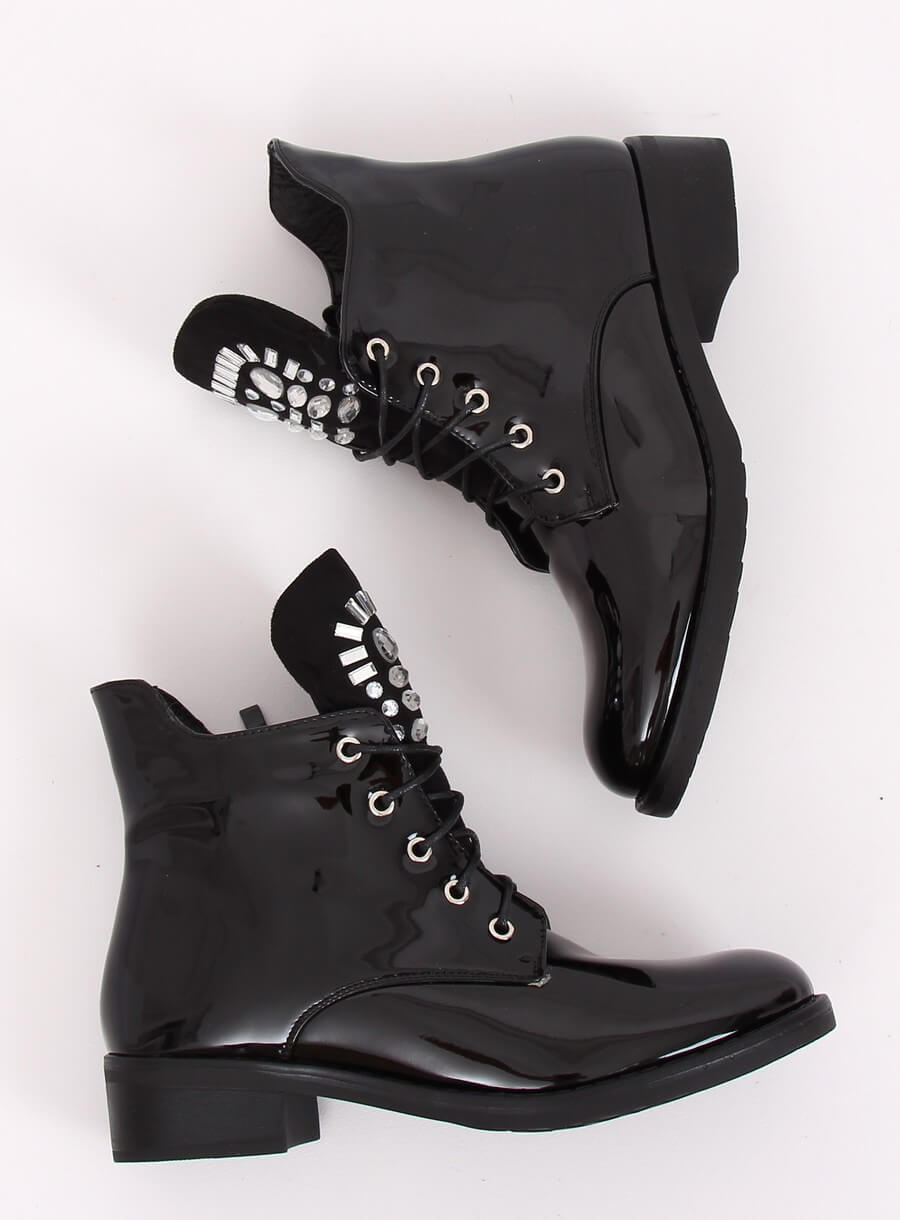 Botki damskie lakierowane czarne NC866 BLACK