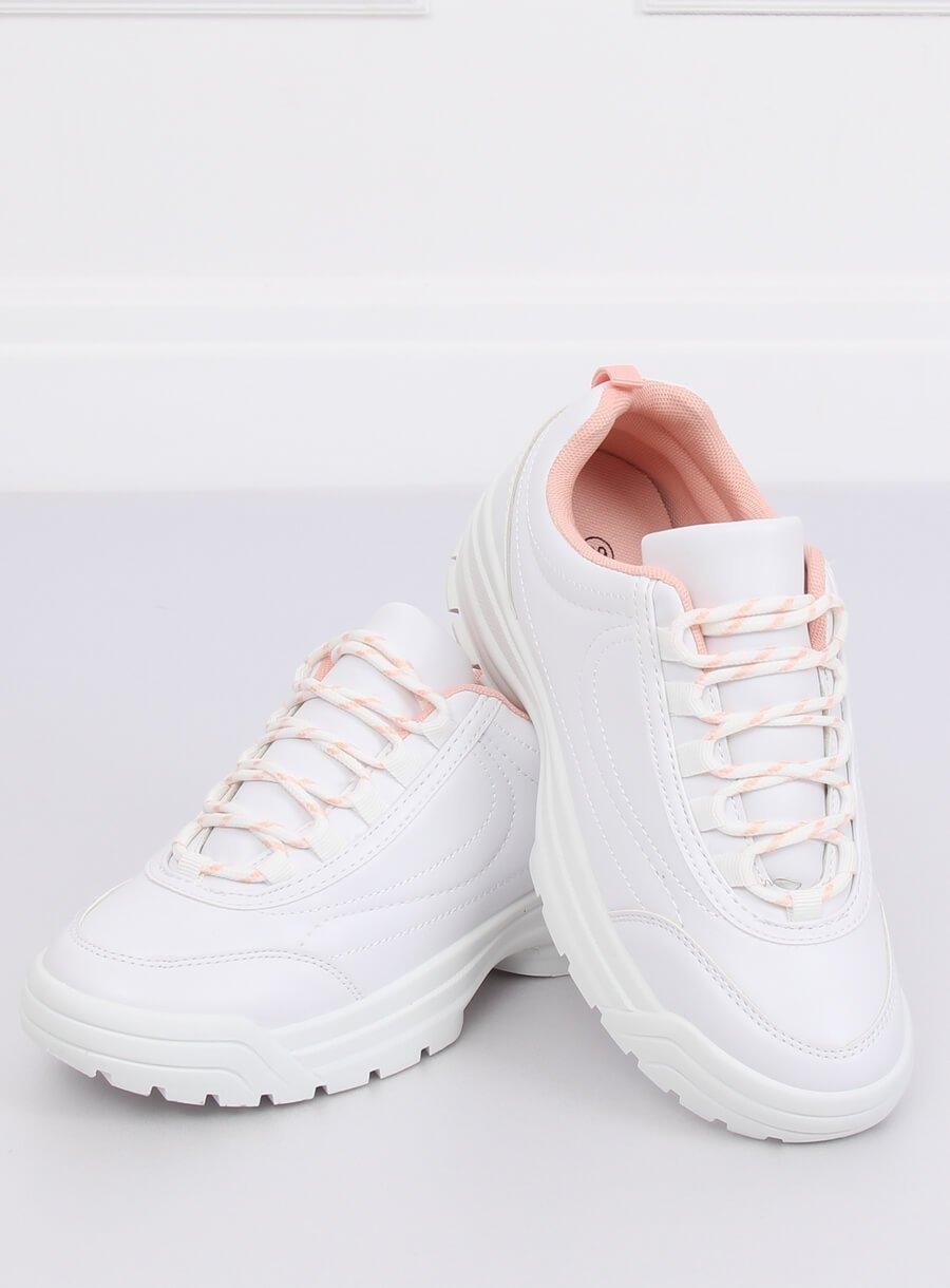 Buty sportowe biało różowe 6256 Pink białe | Sportowe