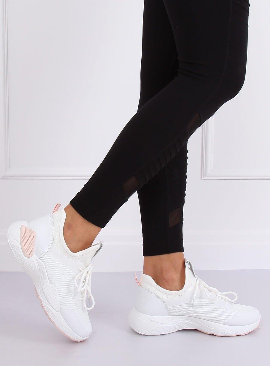 Buty sportowe z siateczką białe B0 547 PINK | Sklep