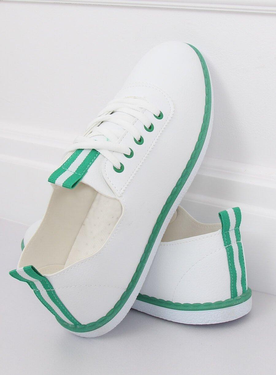 Tenisówki damskie biało zielone XJ 2918 GREEN