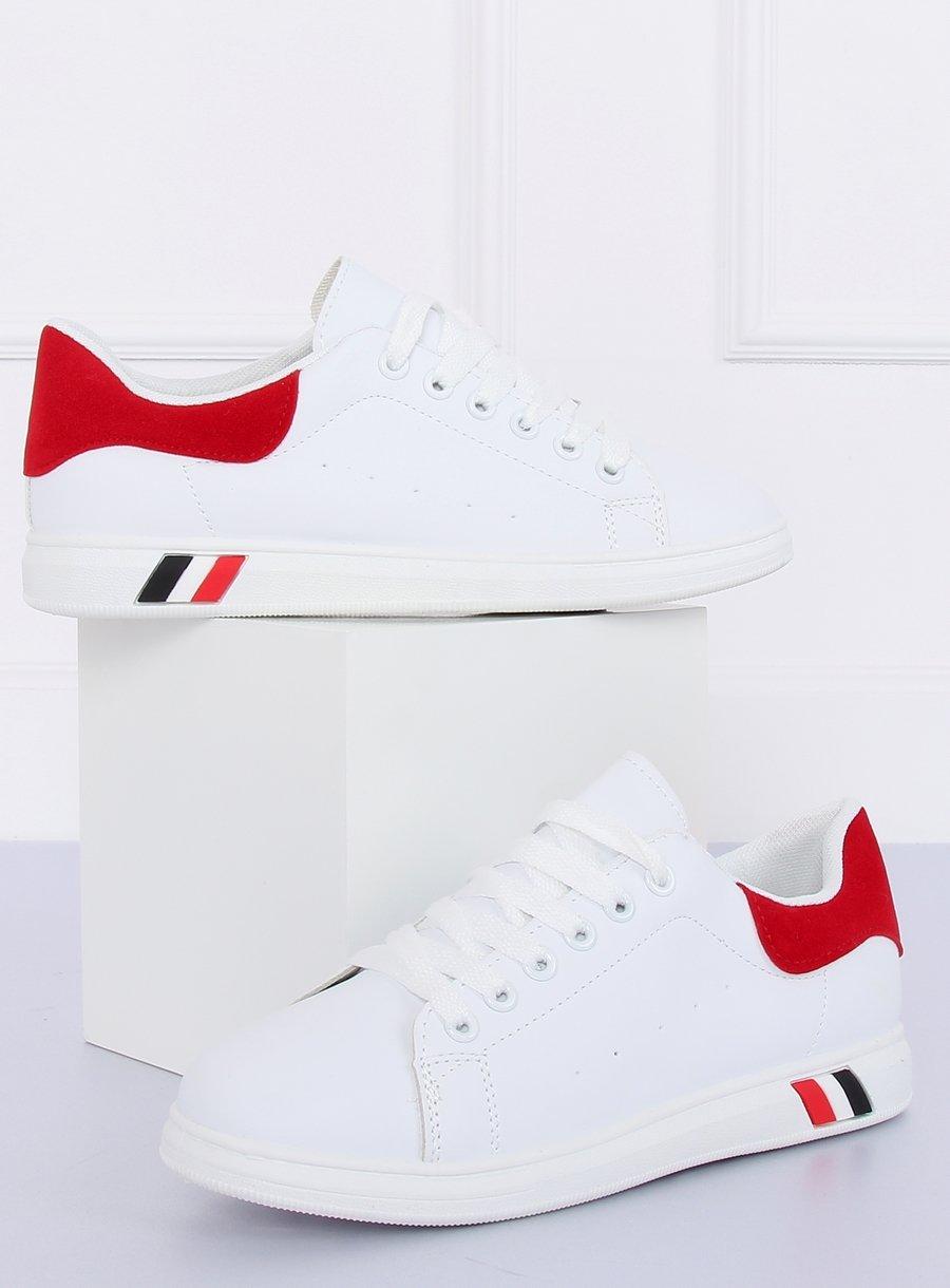 Trampki damskie biało czerwone BL147P RED