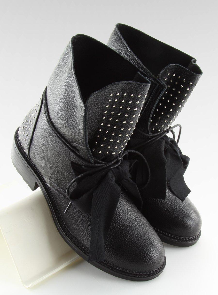 012bcd5132618 Workery z aksamitną kokardą czarne DA11P BLACK | Sklep KupButy.com