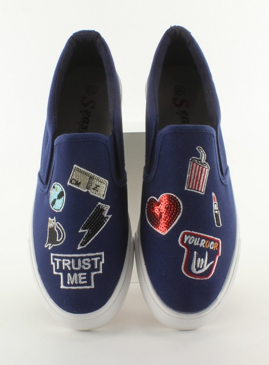 Trampki slip-on z haftami NB102P Dark Blue